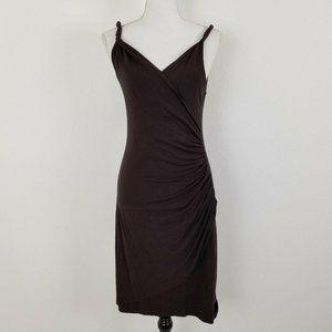 Eva Franco Dress Brown Twisted Ruche V-Neck Straps